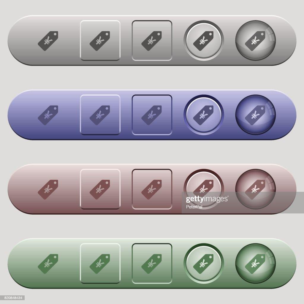 Yen price label icons on horizontal menu bars