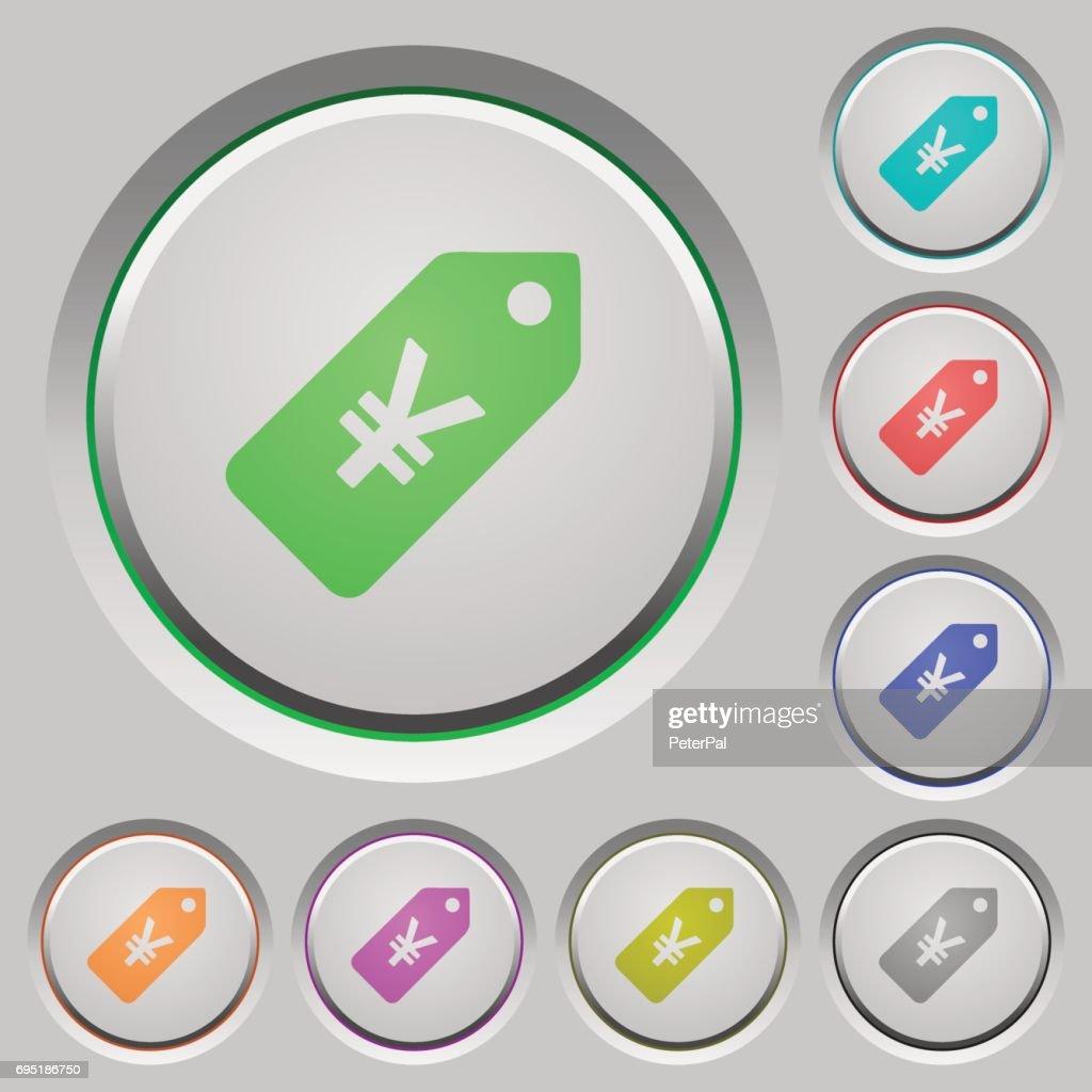 Yen price label push buttons