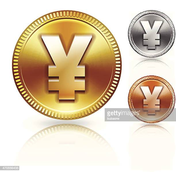 yen sign on metallic currency color set - fiscal year stock illustrations