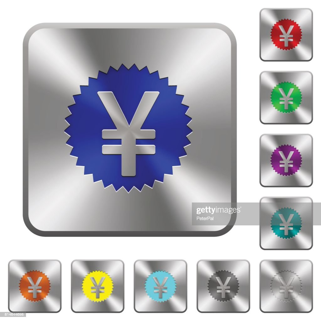 Yen sticker rounded square steel buttons