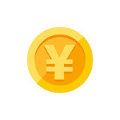 Yen symbol on gold coin flat style