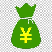 Yen, yuan bag money currency vector icon in flat style. Yen coin sack symbol illustration on isolated transparent background. Asia money business concept.