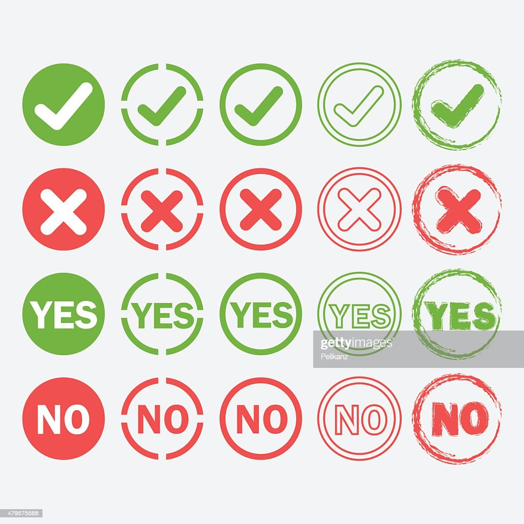 Yes and No circle icons in silhouette and outline styles set
