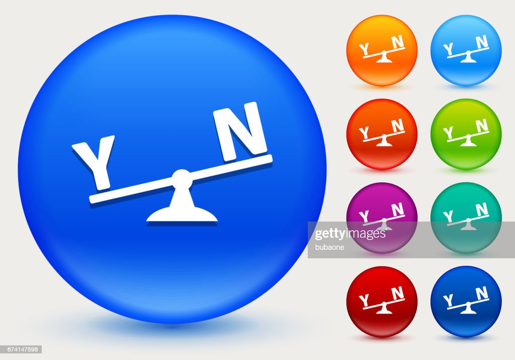 Yes and No Scale Icon on Shiny Color Circle Buttons