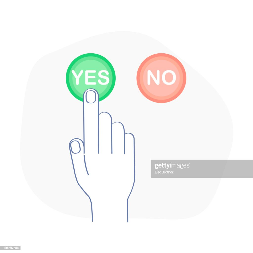 Yes and No Vote Vector Banner - Voting Buttons Icon Set