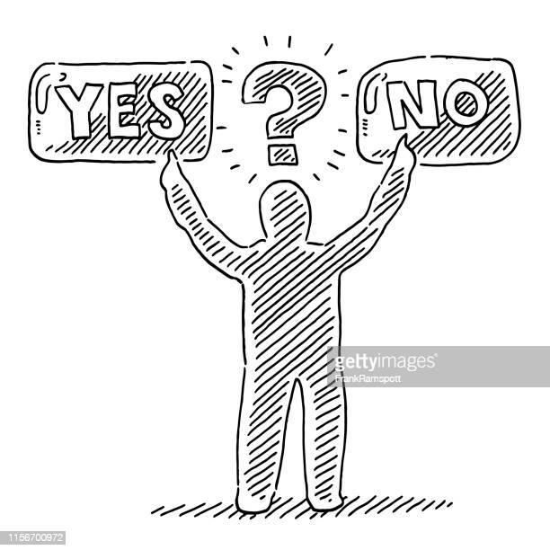 ja kein entscheidungskonzept mit menschlicher figurenzeichnung - entscheidung stock-grafiken, -clipart, -cartoons und -symbole