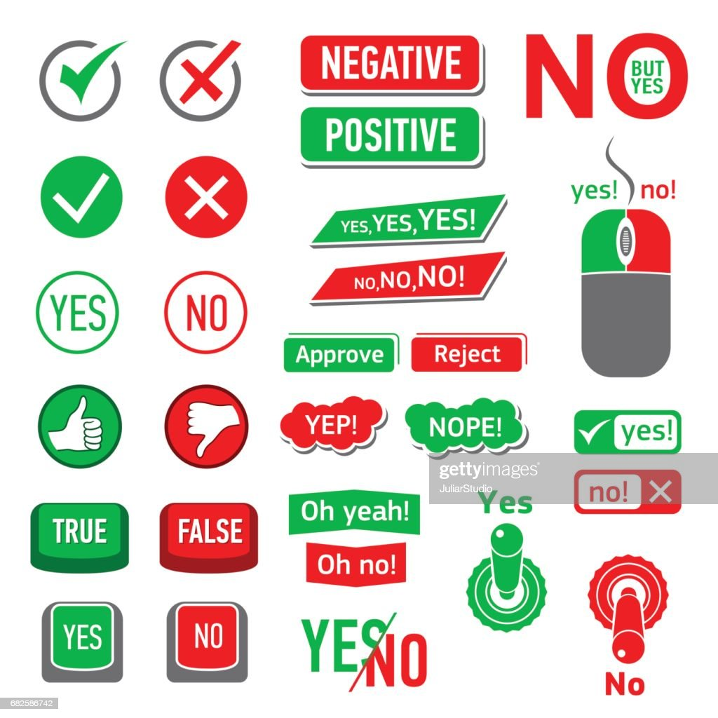 Yes No icons set, simple style