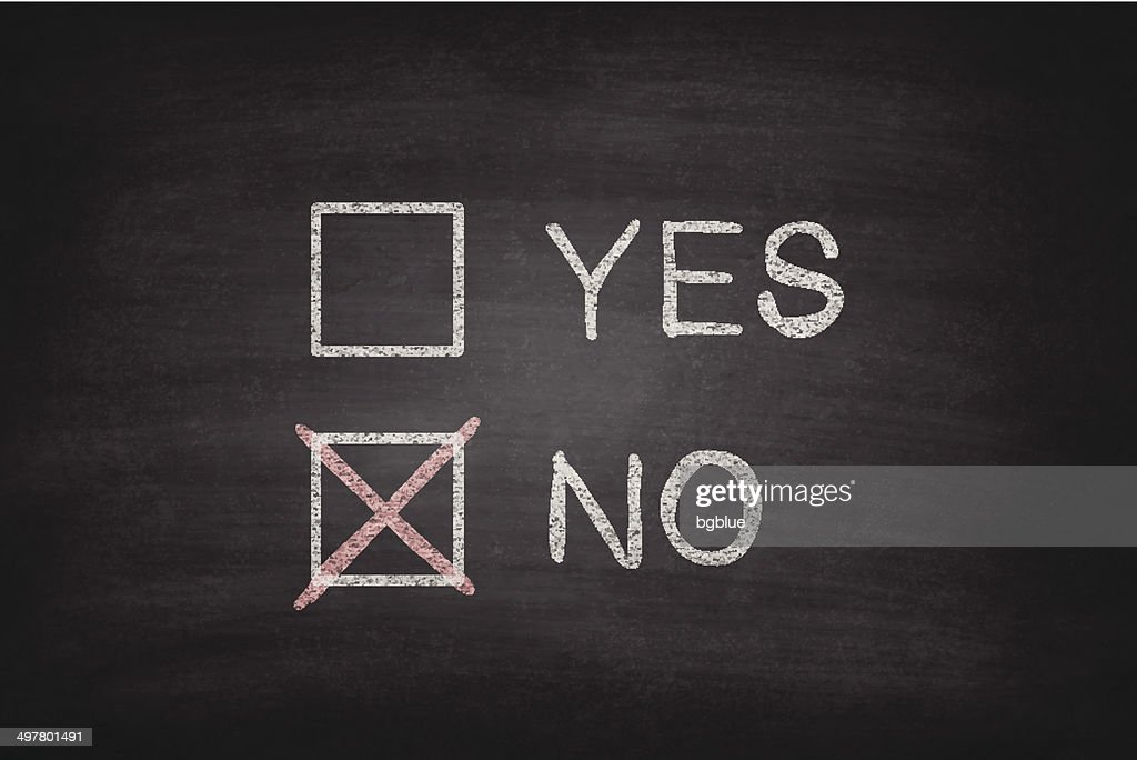Yes or No Checkboxes on Blackboard - Chalkboard : stock illustration