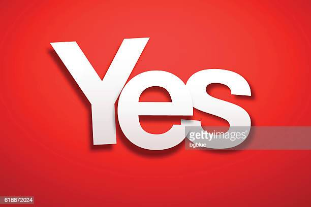 Yes Sign with Red Background - Paper Font