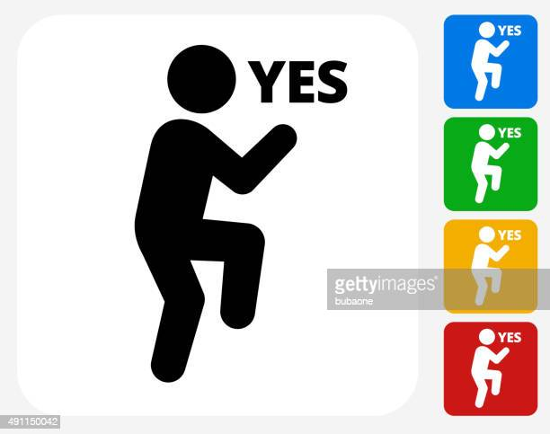 yes stick figure icon flat graphic design - skipping stock illustrations, clip art, cartoons, & icons