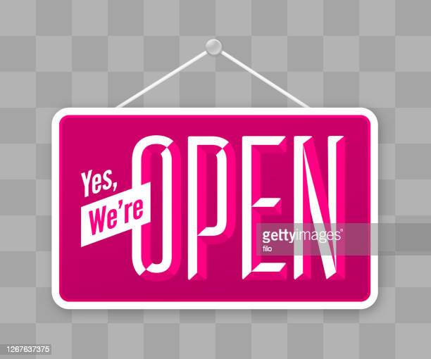yes, we're open hanging business sign - opening event stock illustrations