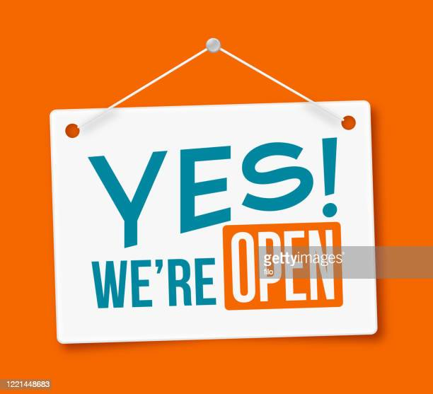 yes, we're open! sign - placard stock illustrations