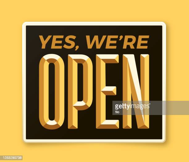 yes, we're open sign - open sign stock illustrations