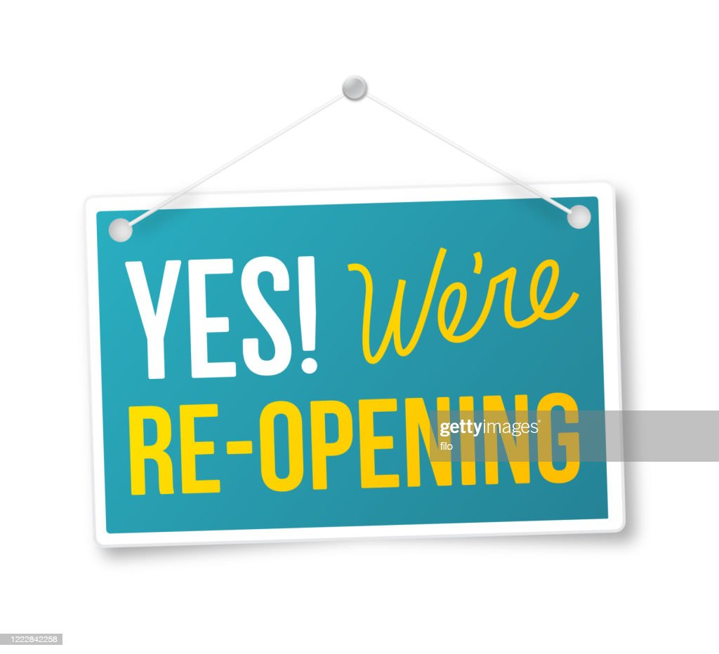 Yes We're Re-Opening Sign : stock illustration