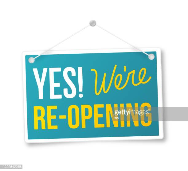 yes we're re-opening sign - opening event stock illustrations