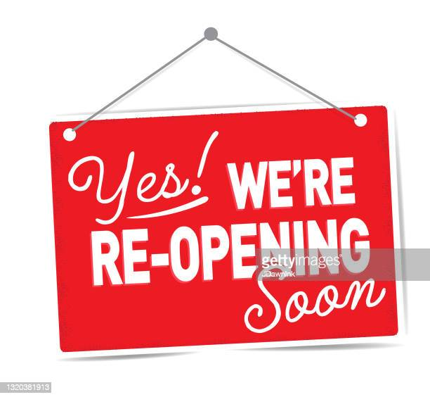 yes we're re-opening soon sign design for businesses on red sign on white background - opening event stock illustrations