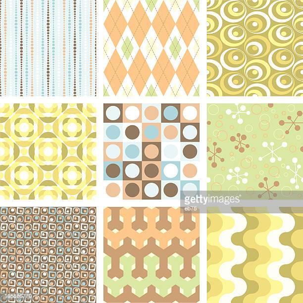 さらに一連の 9 つの個性的なレトロなシームレスパターン - 1970年点のイラスト素材/クリップアート素材/マンガ素材/アイコン素材