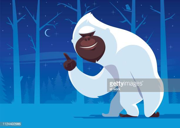 yeti pointing the crescent moon - bigfoot stock illustrations