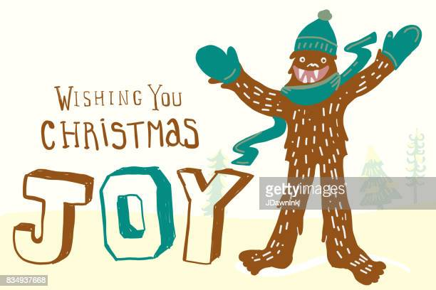 yeti themed christmas greeting design - bigfoot stock illustrations