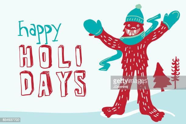 Yeti themed Christmas greeting design