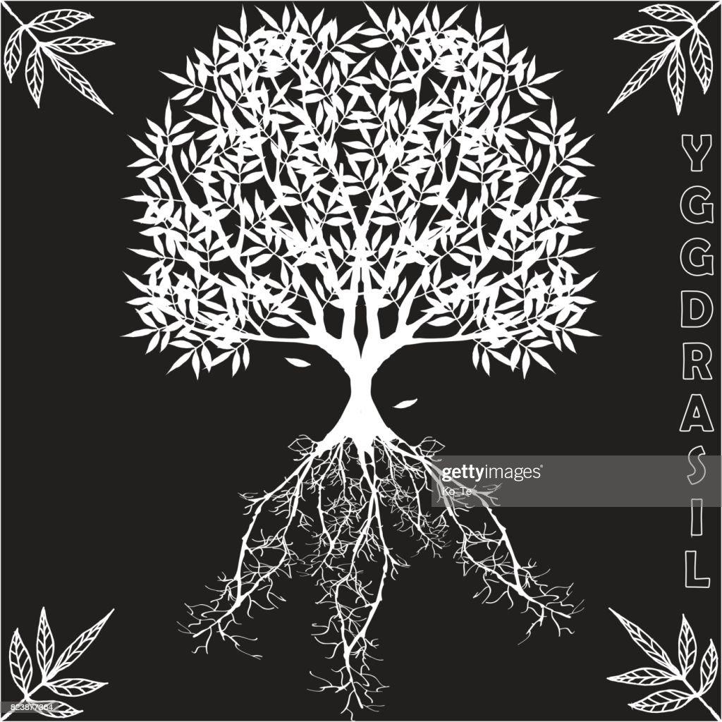 Yggdrasil – vector World tree from Scandinavian mythology.