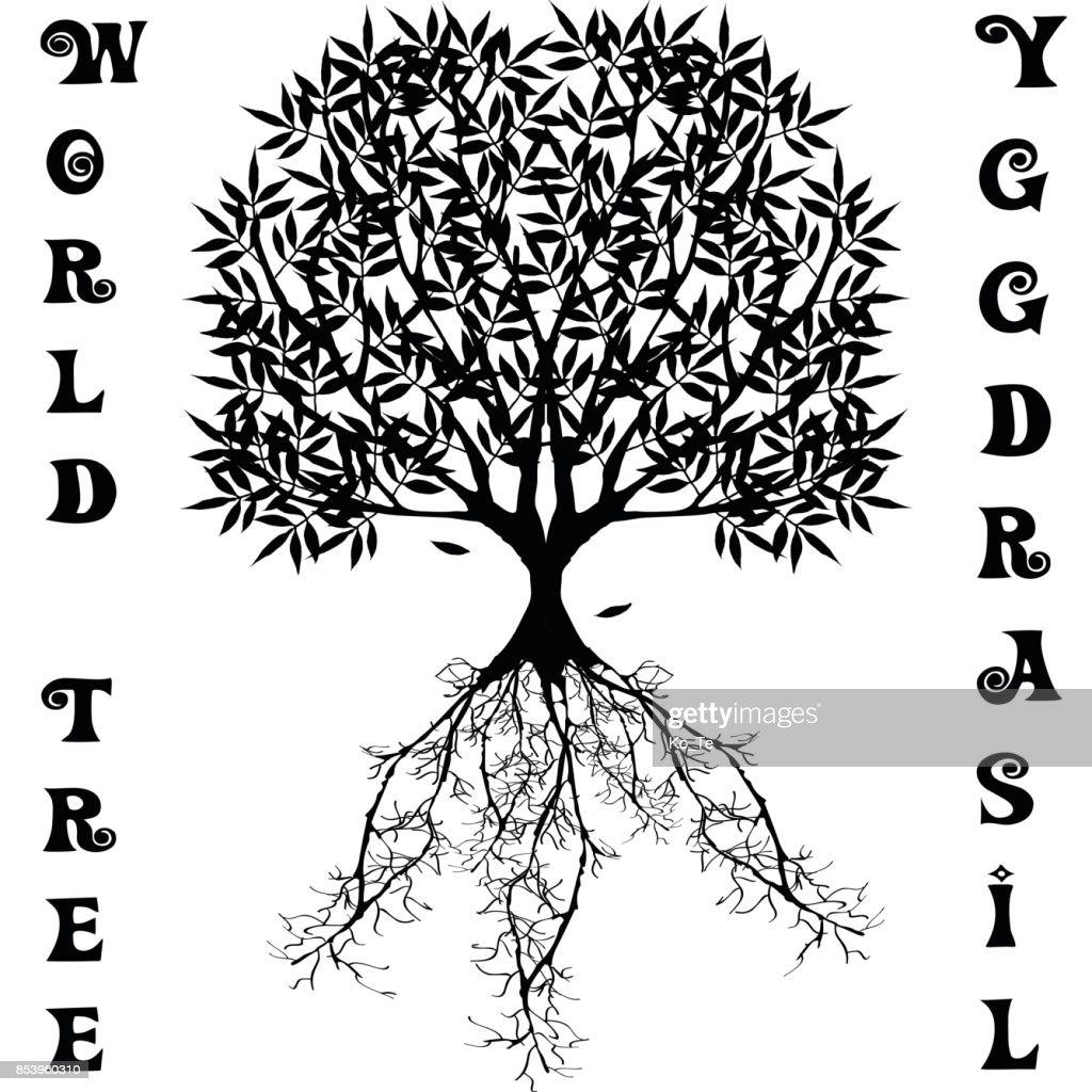 Yggdrasil vector World tree from Scandinavian mythology