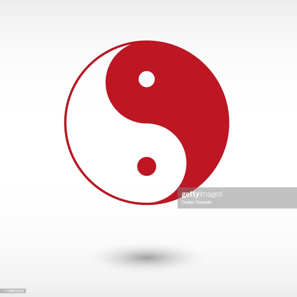 Yin and yang - red vector  icon with shadow