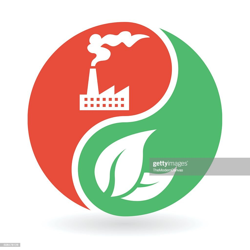 Yin Yang Concept - natural environment and industrial pollution
