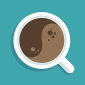 Yin Yang cup of coffee