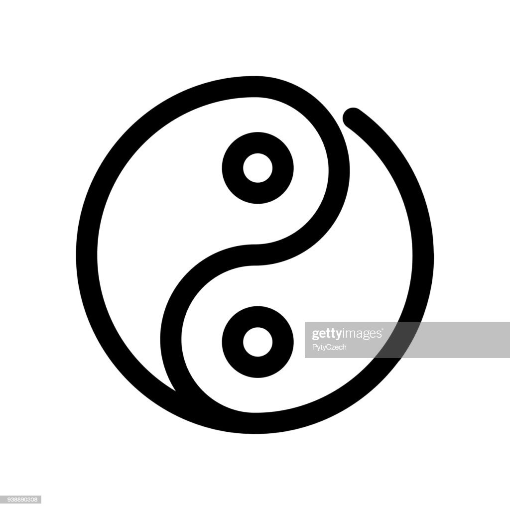 Yin yang icon. Outline modern design element. Simple black flat vector sign with rounded corners