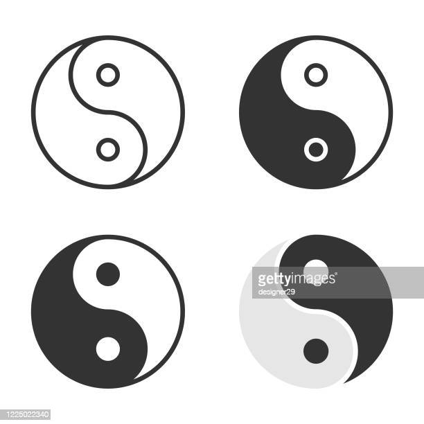 illustrazioni stock, clip art, cartoni animati e icone di tendenza di yin yang icon set vector design. - armonia