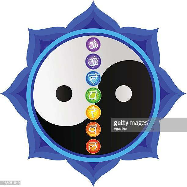 yin yang mandala with chakras - chakra stock illustrations, clip art, cartoons, & icons