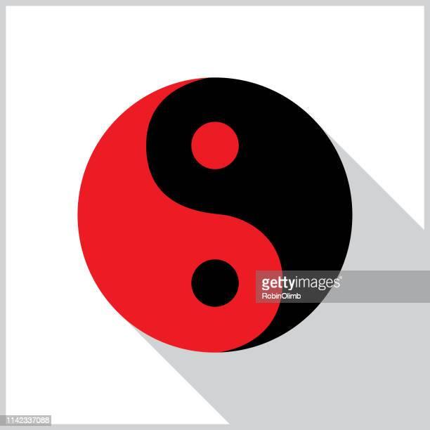 yin yang shadow icon - philosophy stock illustrations