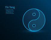 Yin yang symbol, harmony vector illustration on blue background