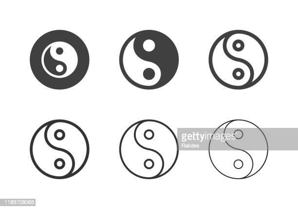illustrazioni stock, clip art, cartoni animati e icone di tendenza di icone dei simboli yin yang - serie multi - armonia