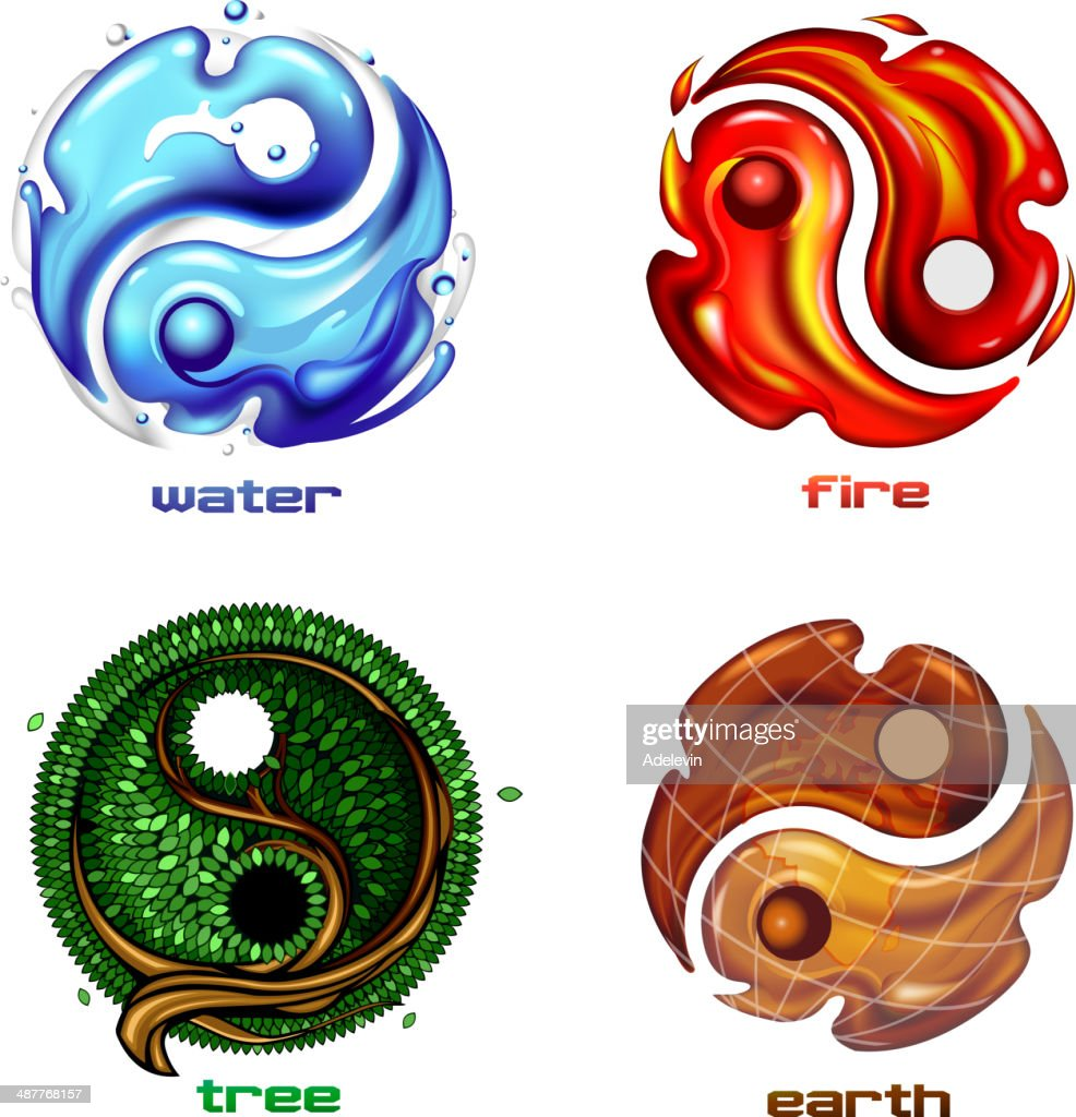 Yin yang symbol of earth fire and water vector art getty images yin yang symbol of earth fire and water vector art buycottarizona