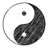 Yin yang symbol of harmony and balance with Scribble effect