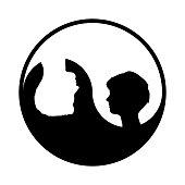 Yin yang symbol with woman and man