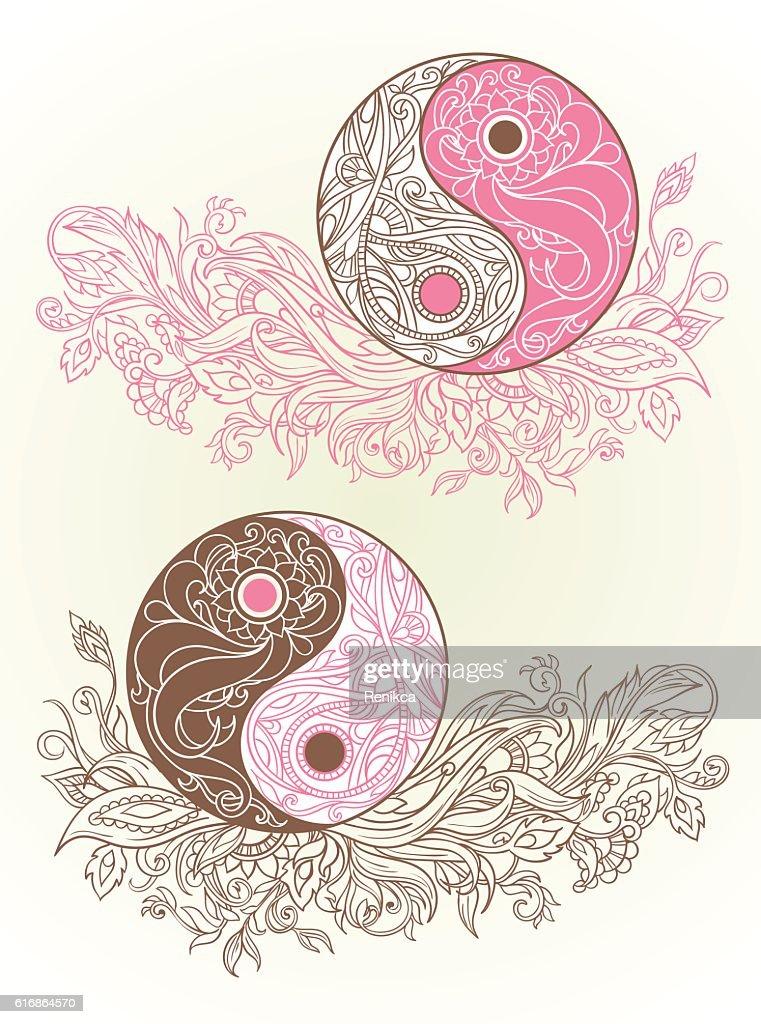 Yin yang symbols as an allegory of opposites : Vector Art