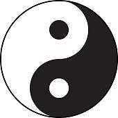 Ying-yang symbol of harmony and balance. Flat style.