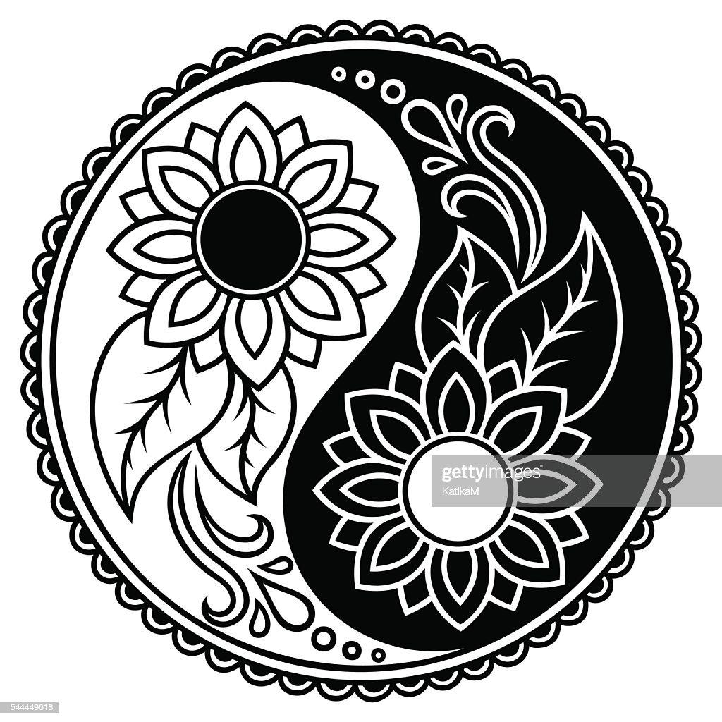 Yin-yang decorative symbol. Hand drawn vintage style design element.