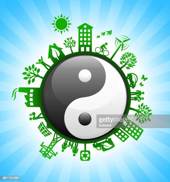 Yin-Yang Sign on Environmental Conservation Background