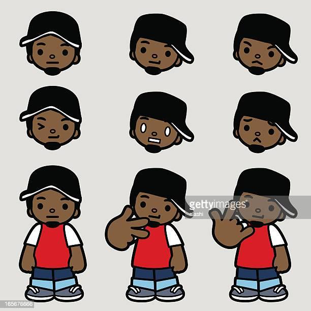 ilustrações de stock, clip art, desenhos animados e ícones de ei! estilo hip-hop homem, fazendo gestos de mão de ícones - hip hop