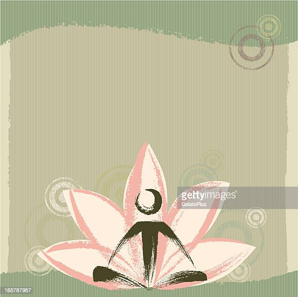 yoga and zen background - lotus position stock illustrations, clip art, cartoons, & icons