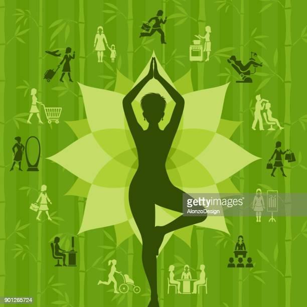 ilustraciones, imágenes clip art, dibujos animados e iconos de stock de pose de yoga asana árbol - madre trabajadora
