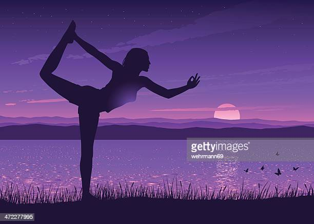 yoga at a lake - relief emotion stock illustrations, clip art, cartoons, & icons