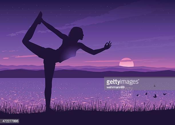 ilustrações, clipart, desenhos animados e ícones de ioga em um lago - relief emotion