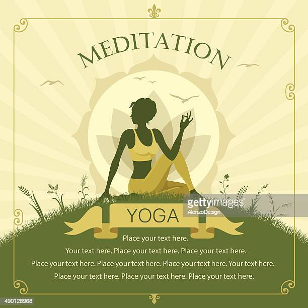 yoga benefits - lotus position stock illustrations