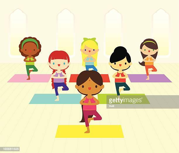 ilustraciones, imágenes clip art, dibujos animados e iconos de stock de clase de yoga - yoga