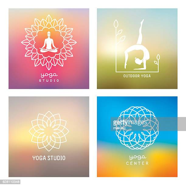 Yoga design elements and emblems